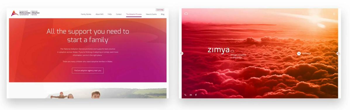 نمونه ای از سایتهایی که از رنگ پوششی استفاده کرده اند - سایت ساز و فروشگاه ساز پوپش