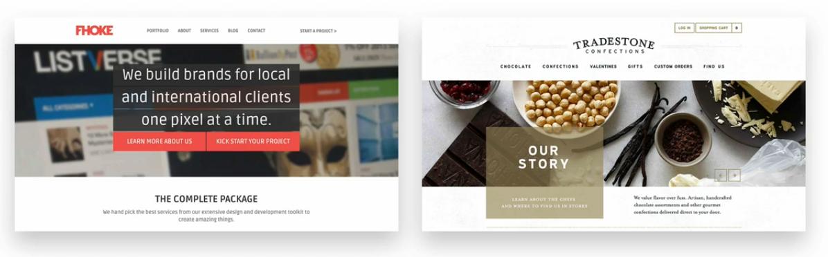 دو نمونه سایت دیگر از نحوه قرار دادن متن در کادر - سایت ساز و فروشگاه ساز پوپش