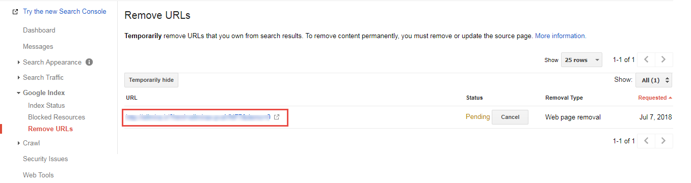 لیست remove URLs