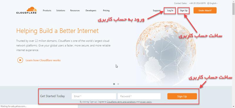 صفحه خانه سایت cloudflare